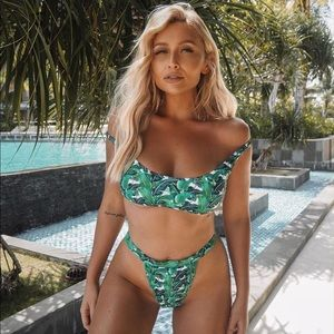 Tropical Leaf High Waisted Crop Bikini